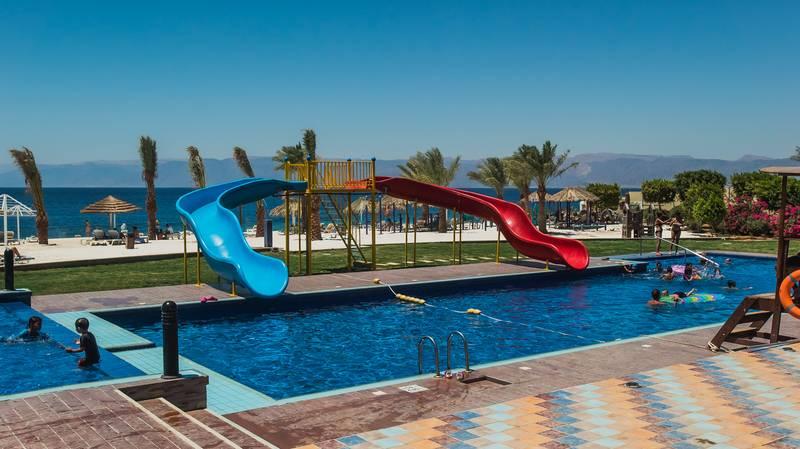 Tala Bay Resort 5* - detský bazén so šmýkačkami